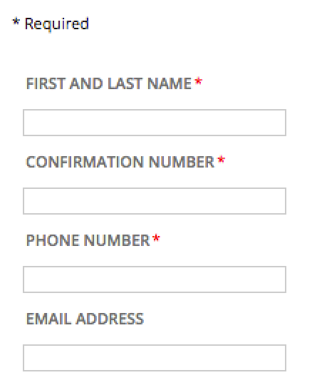 A form with required fields and the instructions for its indicator.